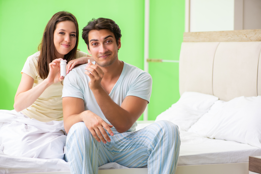 couple happy with sex enhancement pills