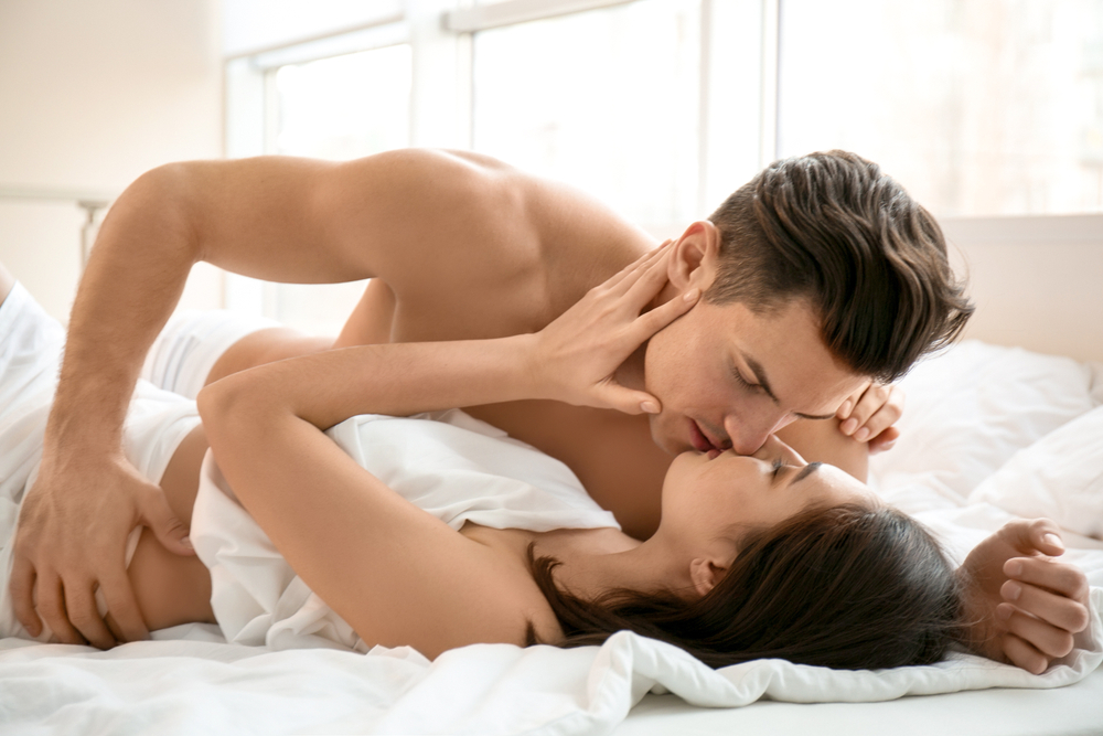 intimate couple in a passionate kiss