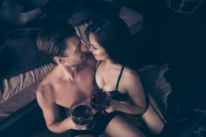 sensual night with red wine