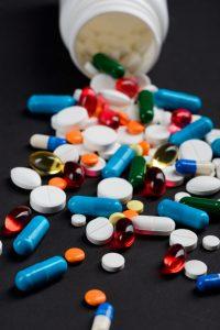 pill bottle spills on table