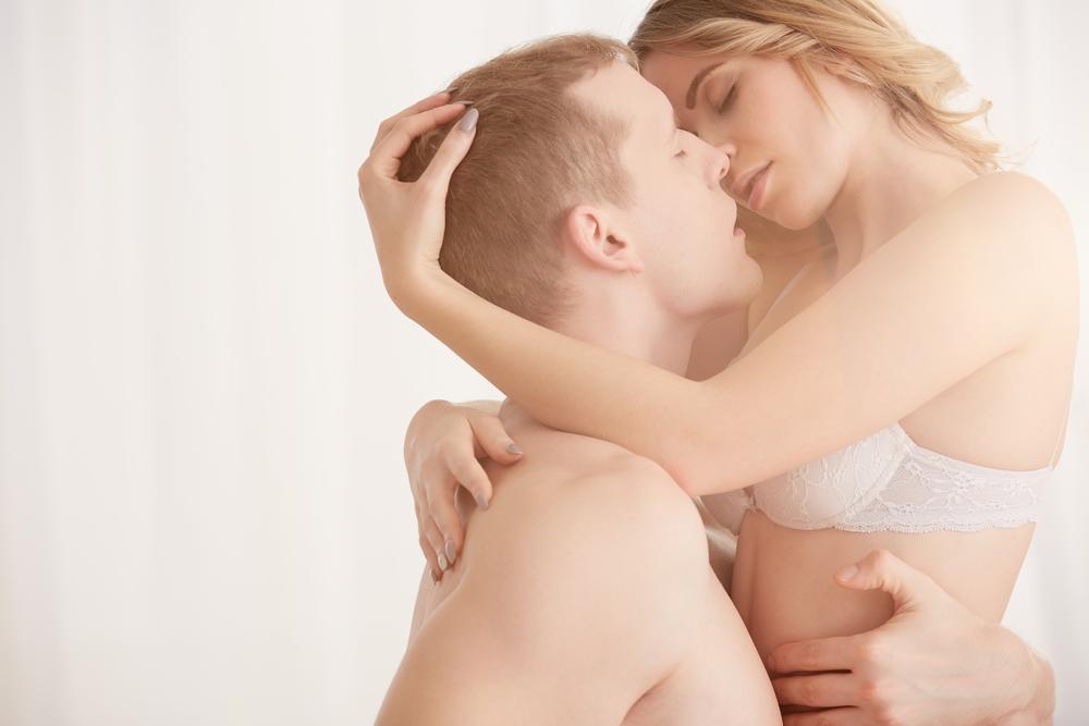 sensual couple kiss