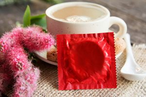 coffee cup and condom