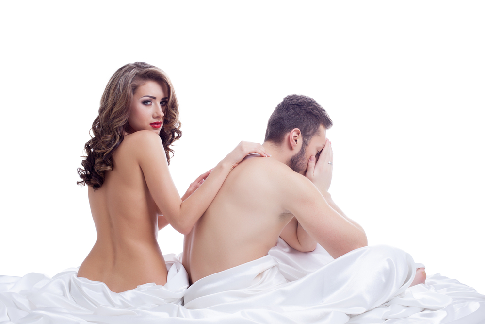 woman comforts man with sexual dysfunction
