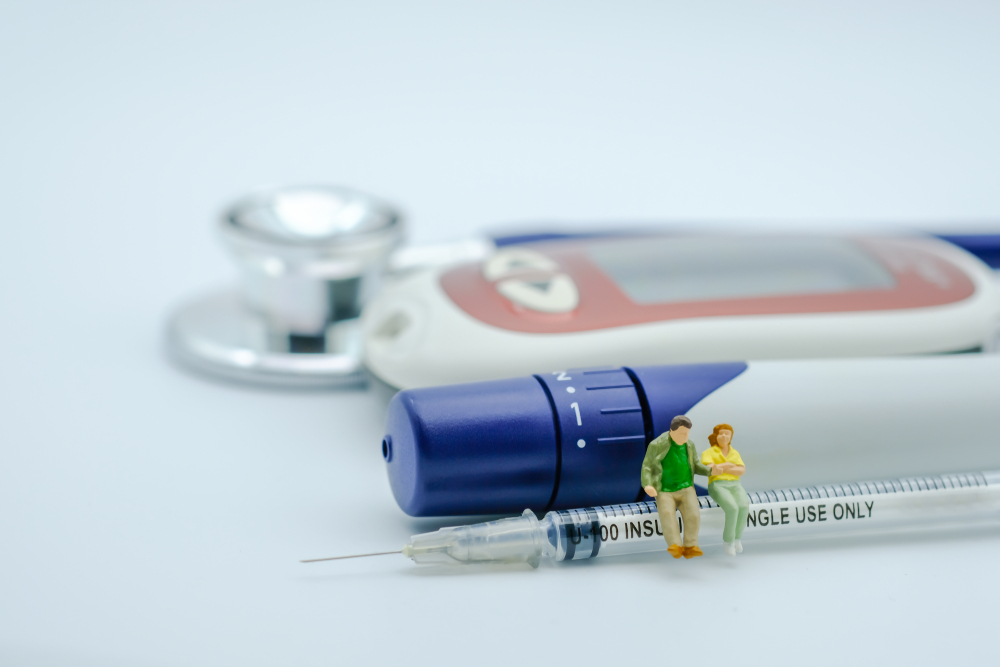 diabetics sitting on insulin injection