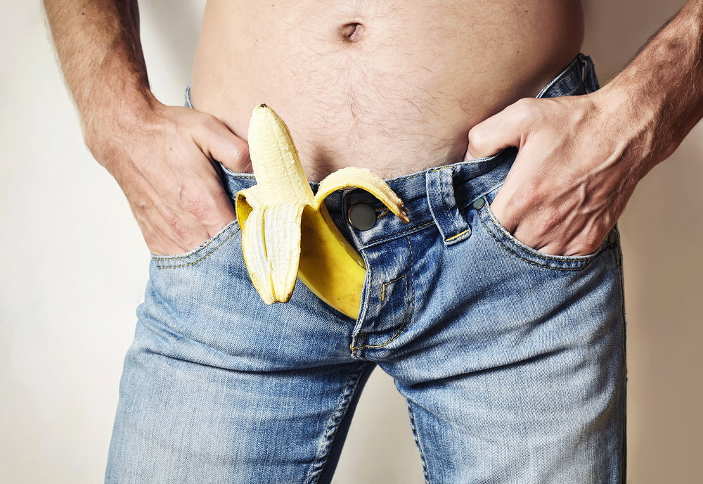 banana coming out the jean zipper