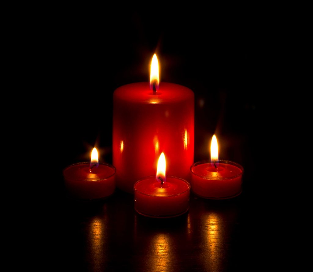 lighted candles for ritual