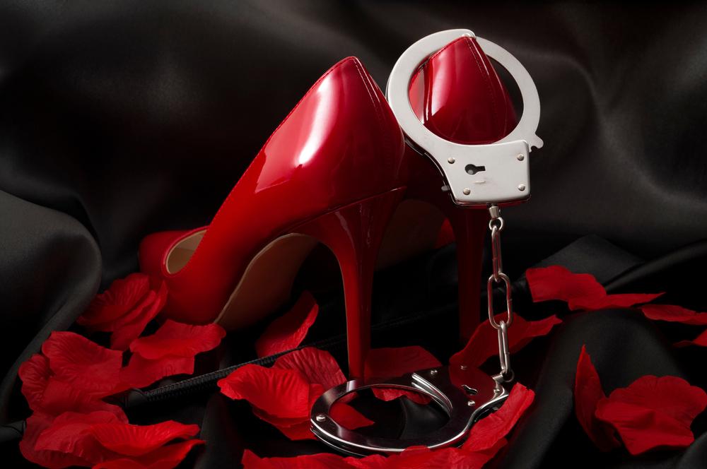 red stilettos and handcuffs