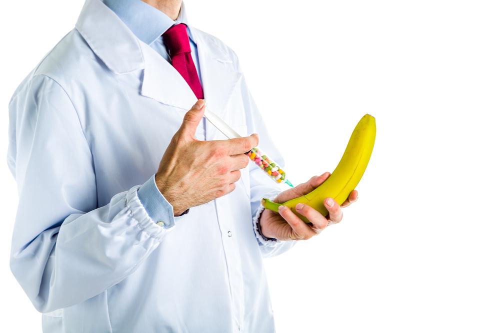 injecting a banana representing penis