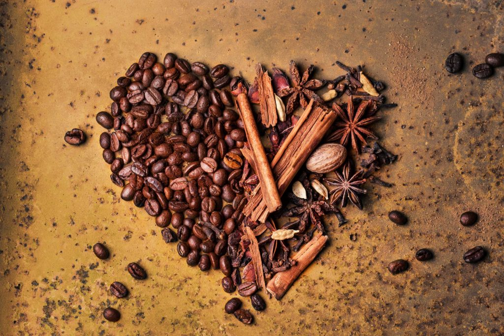 coffee beans forming heart