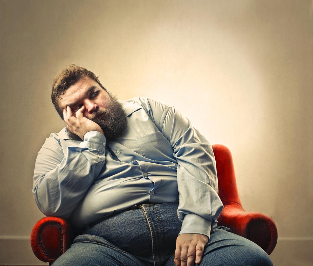 sad fat bearded man