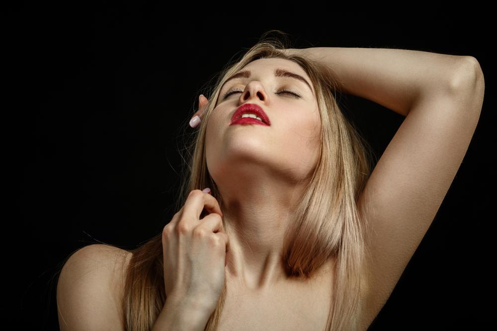 beautiful woman getting aroused
