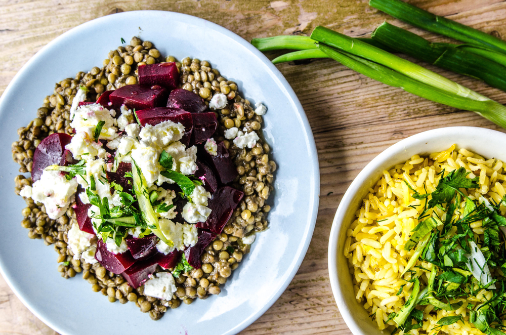 Increase Testosterone with Lentil and Beetroot Salad with Tofu Feta