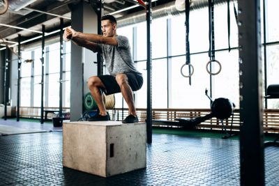 Elevated platform jump squat